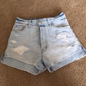 High Waisted Light Wash Distressed Shorts